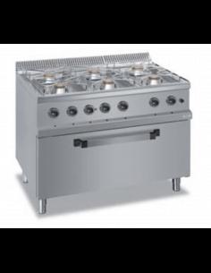 Cocina a gas 6 fuegos y...