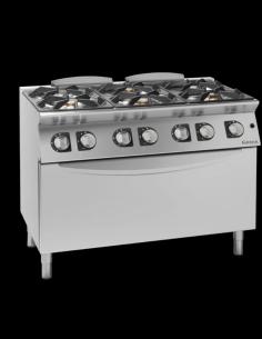 Cocina a gas 6 fuegos con horno eléctrico fondo 70 cm Giorik Unika 700 ECG760E
