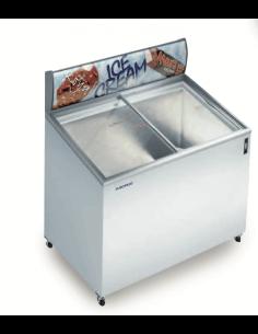 Congelador ancho 155 cm tapa cristal inclinada corredera EUROFRED IC 500 SCE