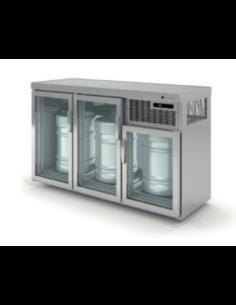 Barrilero enfriador de barriles para 3 barriles puerta y respaldo cristal CORECO EBV150