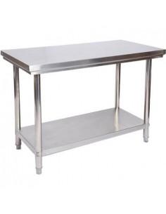 Mesa de trabajo inoxidable con estante sin peto ancho 120 cm FRIGERIA MNS1200