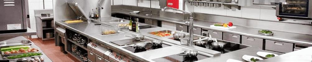 cocina industrial profesional a gas y eléctrica de sobremesa y horno